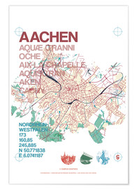 Premium poster Aachen city motif map