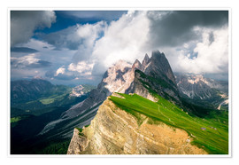 Poster  Seceda - South Tyrol - Mountain panorama - Sebastian Jakob