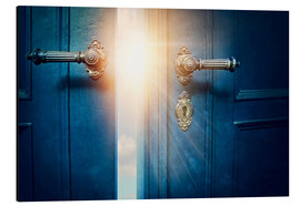 Aluminium print  Open blue door and sunshine - Elena Schweitzer