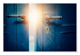 Premium poster Open blue door and sunshine