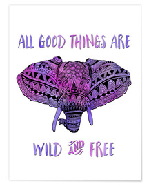 Poster Elephant Wild and Free