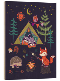 Wood print  Camping Friends - Janet Broxon