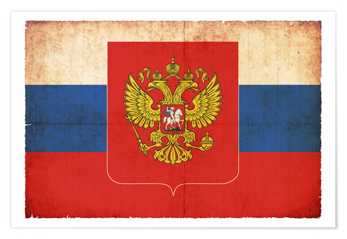 Premium poster Old flag of Russia with coat of arms in grunge style