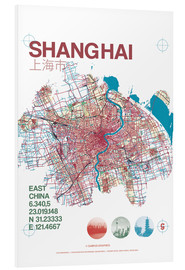 Foam board print  Shanghai city map - campus graphics