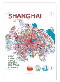 Premium poster Shanghai city map