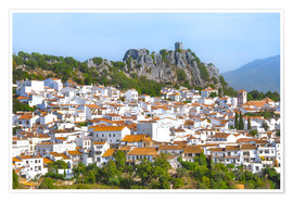 Premium poster White Town with mountain scenery