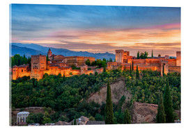 Acrylic glass  Red Alhambra in the Evening - Jürgen Feuerer