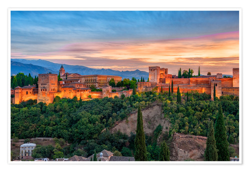Premium poster Red Alhambra in the Evening