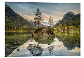 Foam board print  Hintersee at an evening in spring - Sabine Wagner