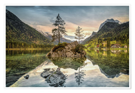 Premium poster Hintersee at an evening in spring