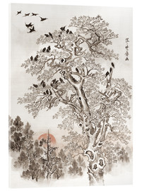 Acrylic print  Flock of Crows at Dawn - Kawanabe Kyosai