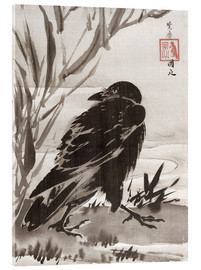 Acrylic print  Crow and Reeds by a Stream - Kawanabe Kyosai
