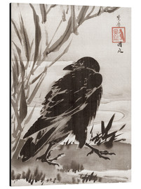 Aluminium print  Crow and Reeds by a Stream - Kawanabe Kyosai