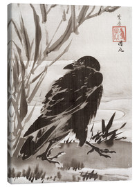 Canvas print  Crow and Reeds by a Stream - Kawanabe Kyosai