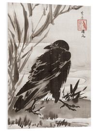 Foam board print  Crow and Reeds by a Stream - Kawanabe Kyosai