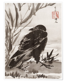 Premium poster  Crow and Reeds by a Stream - Kawanabe Kyosai