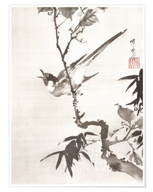 Premium poster Singing Bird on a Branch