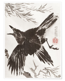 Premium poster Crow and Willow Tree