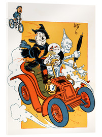 Acrylic print  The scarecrow and tin-man driving very fast in car - Percy Alexander Leason