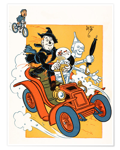 Premium poster The scarecrow and tin-man driving very fast in car