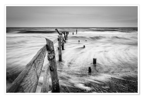 Premium poster Stormy Baltic Sea (monochrome)