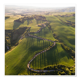 Premium poster Aerial view of winding road in Tuscany, Italy