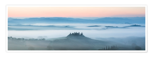 Premium poster Panoramic landscape: Belvedere farmhouse in the mist