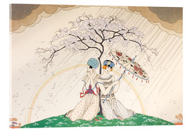 Acrylic print  Two women sheltering from the rain, under a tree - Georges Barbier