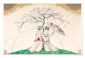Premium poster Two women sheltering from the rain, under a tree