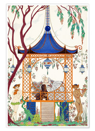 Premium poster  A man and woman in a pavillion - Georges Barbier