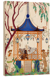 Wood print  A man and woman in a pavillion - Georges Barbier