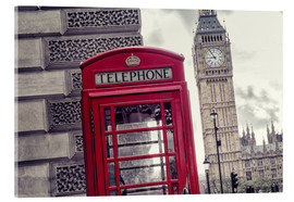Acrylic glass  London red telephone cell with Big Ben - rclassen