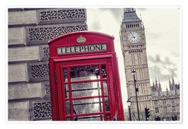 Premium poster London red telephone cell with Big Ben