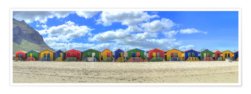 Premium poster Colorful beach houses in Muizenberg