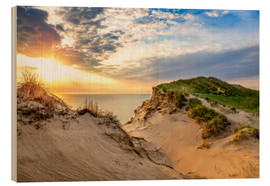 Wood print  Sunset in the dunes at Lonstrup - Reemt Peters-Hein