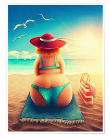 Poster  Chubby on the beach - Elena Schweitzer