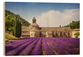 Wood print  Senanque Abbey with lavender fields - Elena Schweitzer