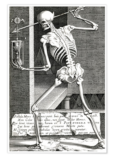 Premium poster Skeleton with hourglass