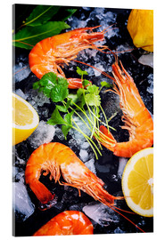 Acrylic glass  Tiger Shrimps on Ice with lemon and herbs