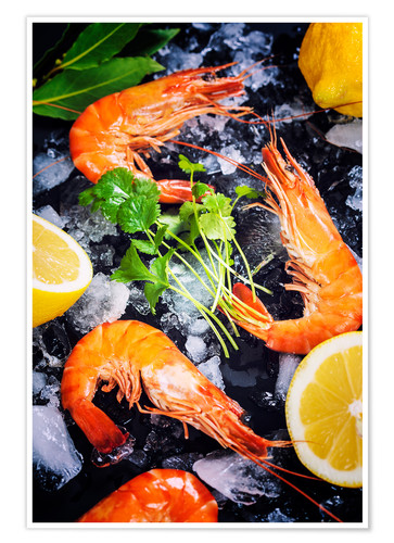 Premium poster Tiger Shrimps on Ice with lemon and herbs
