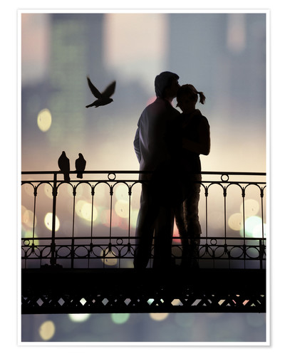 Premium poster silhouette of bridge and pair of lovers on city background
