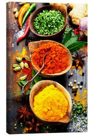 Canvas print  Spices and herbs on wood