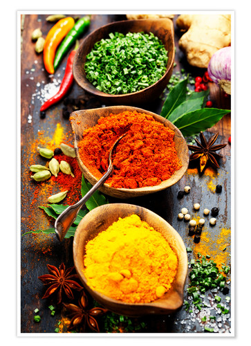 Poster Spices and herbs over Wood