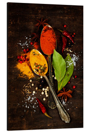 Aluminium print  Bright spices on an old wooden board