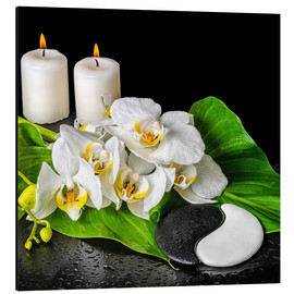 Aluminium print  Spa concept with candles and orchids