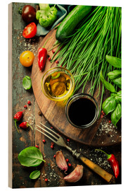Wood  Healthy Bio Vegetables and spices