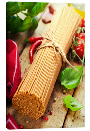 Canvas print  whole wheat spaghetti with ingredients