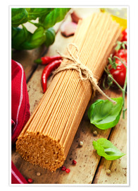 Premium poster whole wheat spaghetti with ingredients