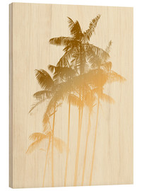 Wood  Palm trees design poster - tobacco - Alex Saberi