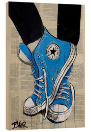 Wood print  Not without my blue shoes - Loui Jover
